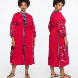 Eloquii tassel front embroidered midi maxi dress